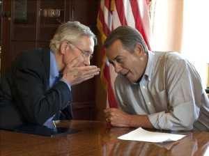 John Boehner and Democratic Senate leader Harry Reid secretly whispering - Photo taken from Tea Party News Network site