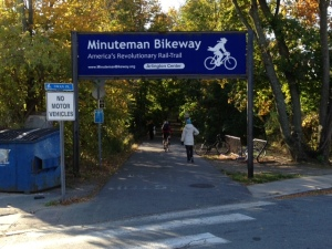 Bikeway at Arlington Center, going to Cambridge MA. The bikeway follows the track of the 19th century railroad used for transporting ice